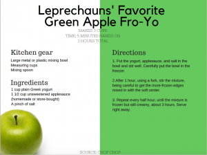 leprechauns favorite green apple fro-yo