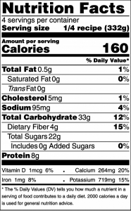 Nutrition facts panel for the strawberry smoothie