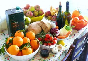 Foods from the Mediterranean diet on a table