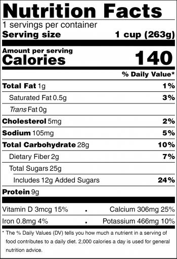 Nutrition facts label for hot chocolate