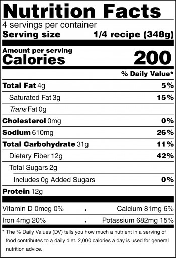 black and white nutrition facts label for slow cooker stew peas