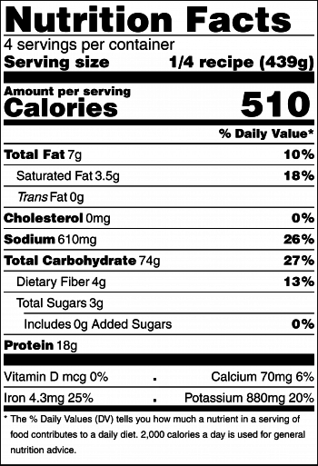 Black and white nutrition facts label for slow cooker rice and peas recipe