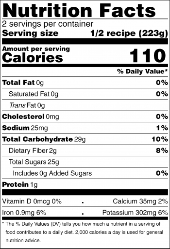 Black and white nutrition facts panel for the bright fruit and vegetable drink