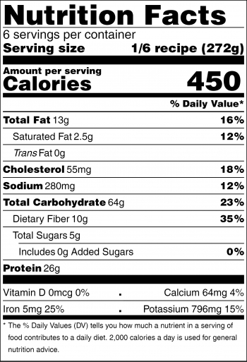 Black and White nutrition facts label for warm chicken with pasta and vegetables recipe