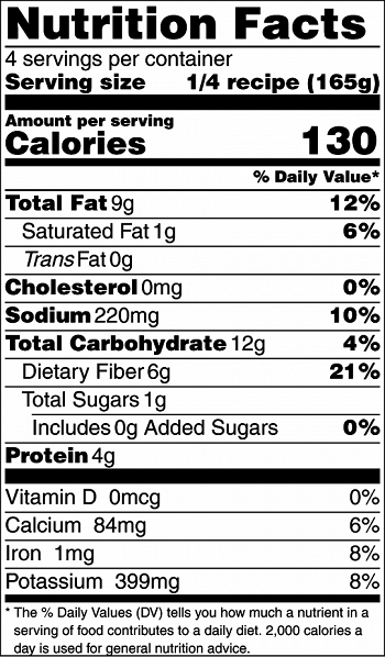 black and white image of warm southern bean spread nutrition facts label